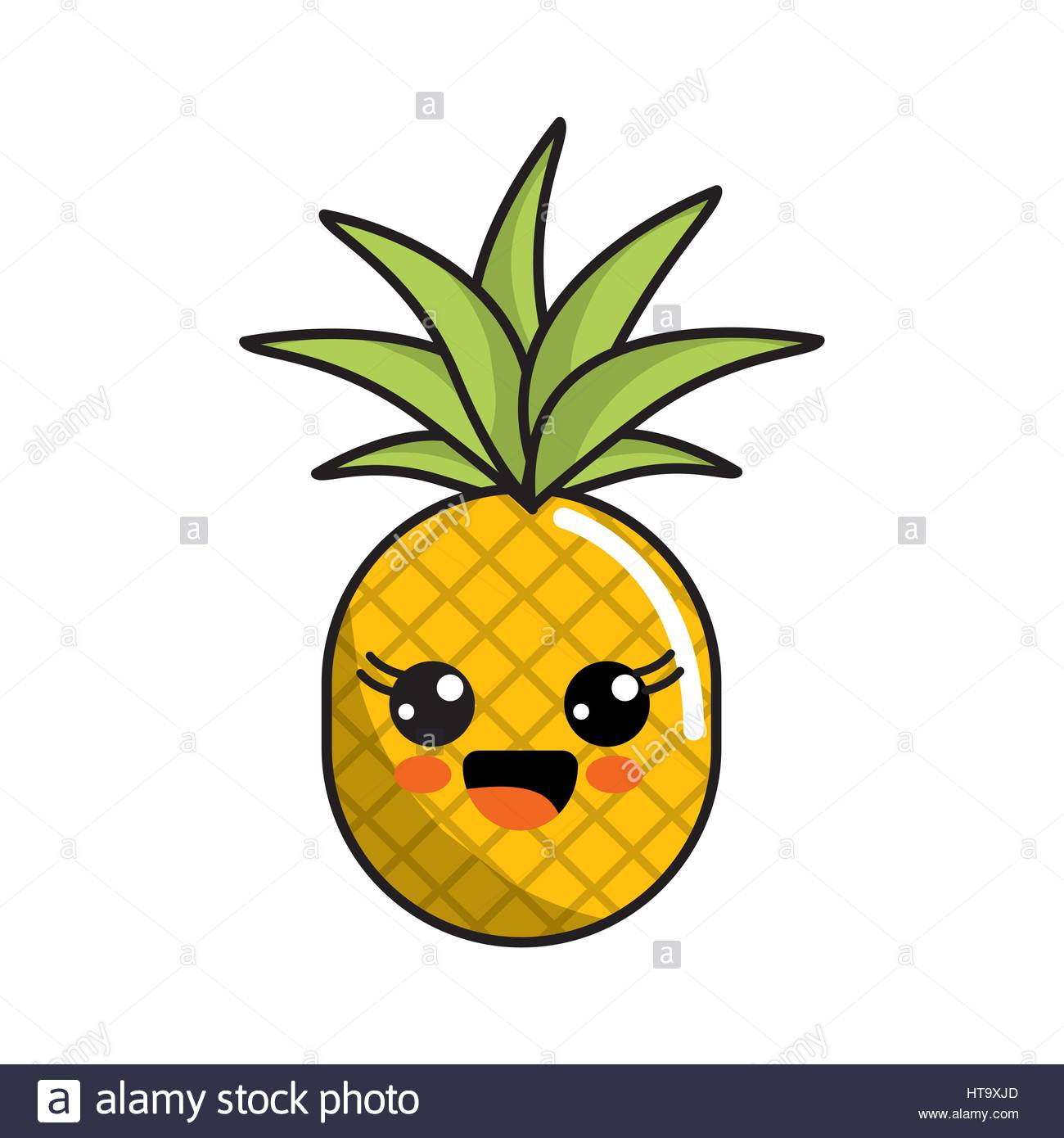 1300x1390 Color Kawaii Happy Pineapple Icon Stock Vector Art Amp Illustration