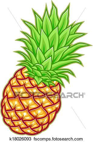 307x470 Clipart Of Pineapple Vector Illustration K18026093