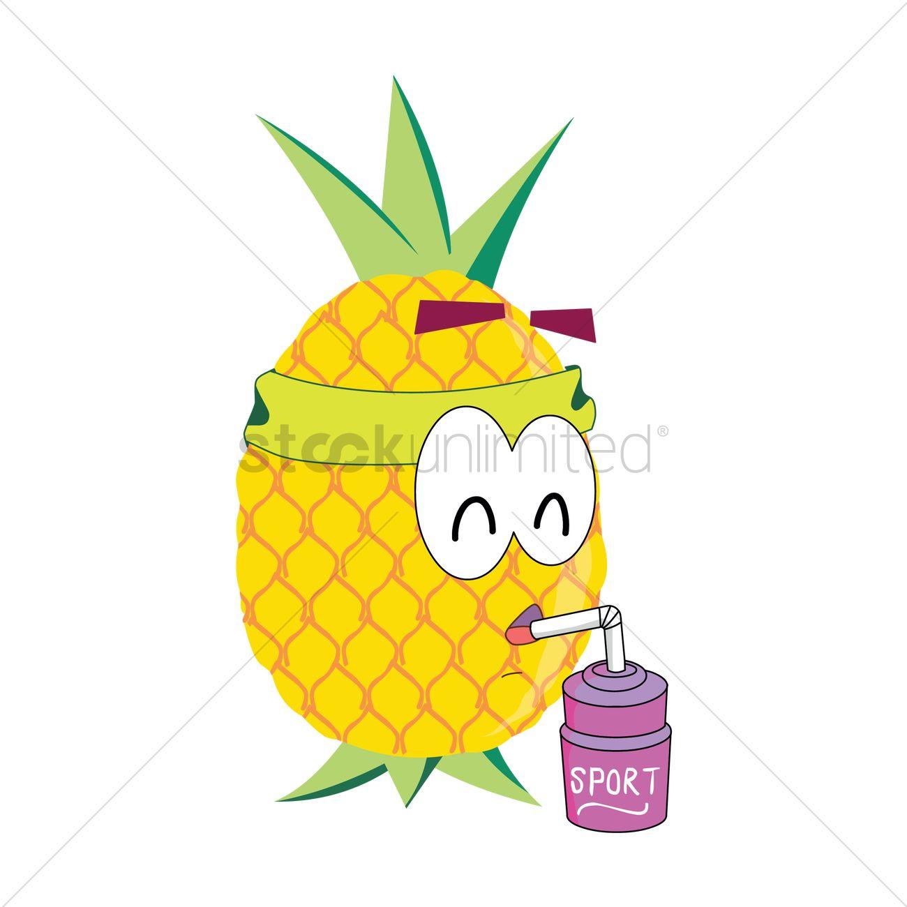 1300x1300 Free Pineapple Cartoon Drinking Juice Vector Image