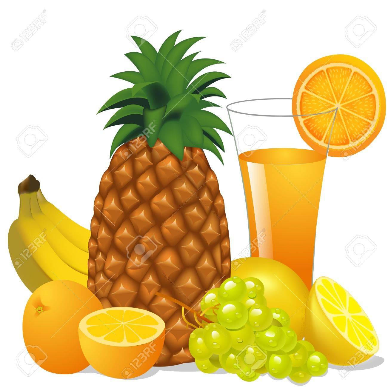 1300x1300 Illustration Juice And Fruits Banana Pineapple Orange Grape