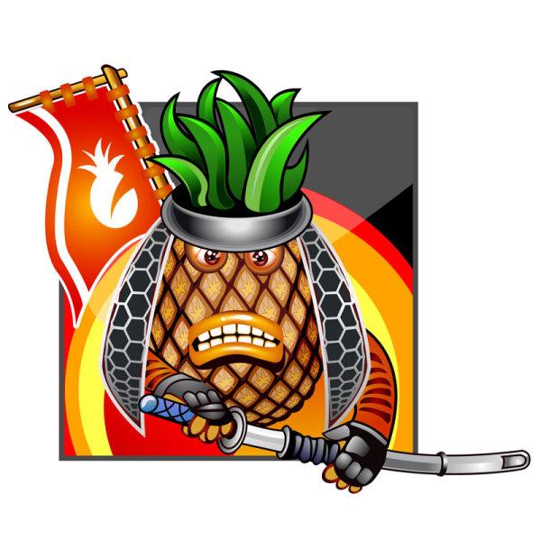 600x620 Pineapple Ninja Vector Cartoon Free Vector Free Download
