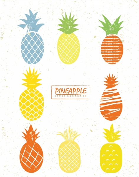 471x600 Pineapple Icons Collection Various Colored Design Free Vector
