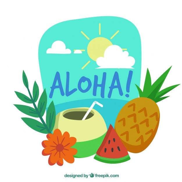 626x626 Aloha Background With Exotic Drink And Fruit Vector Free Download