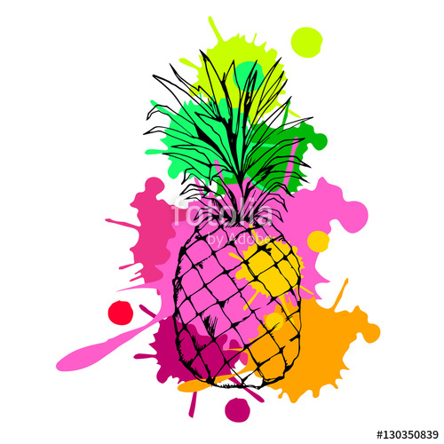 500x500 Pineapple, Vector, Fruit, Food, Tropical, Summer, Design Stock
