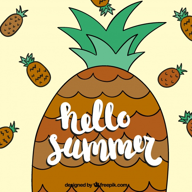 626x626 Background Of Happy Summer With Hand Drawn Pineapple Vector Free