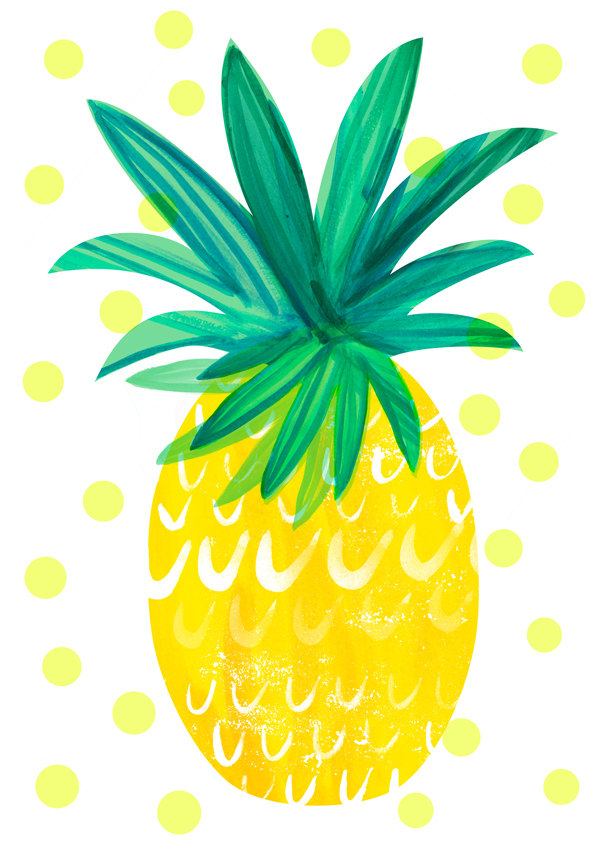 600x849 Pineapple Illustrated Yum Wallpaper, Illustrations