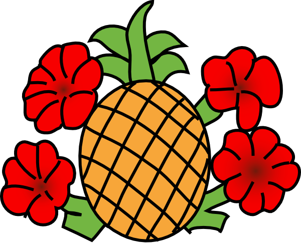 600x485 Pineapple With Flowers Clip Art