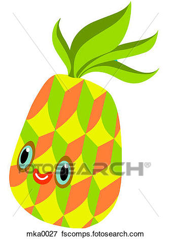 337x470 Stock Illustration Of A Pineapple With A Smiling Face Mka0027