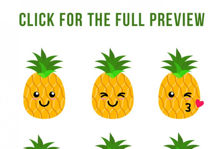 720x479 9 Cute Pineapples Clipart, Pineapple Svg, Tropical Fruit, Sunglass