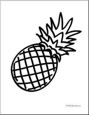 304x392 Clip Art Fruit Pineapple (Coloring Page) I Abcteach