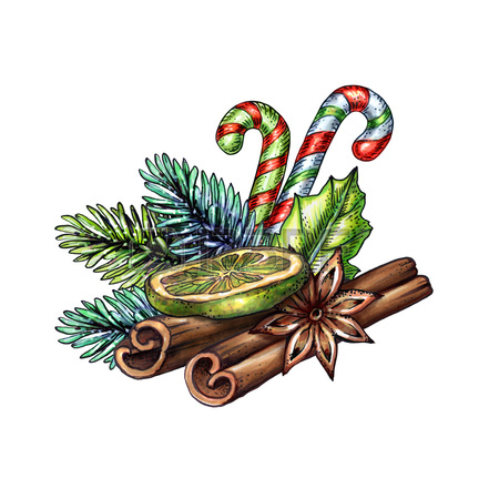 450x450 Christmas Illustration, Pine Cone, Festive Ornament, Hand Drawn
