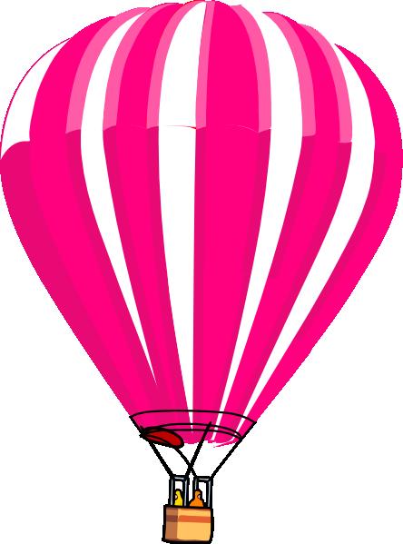 444x599 Pink And White Hot Air Balloon Clip Art
