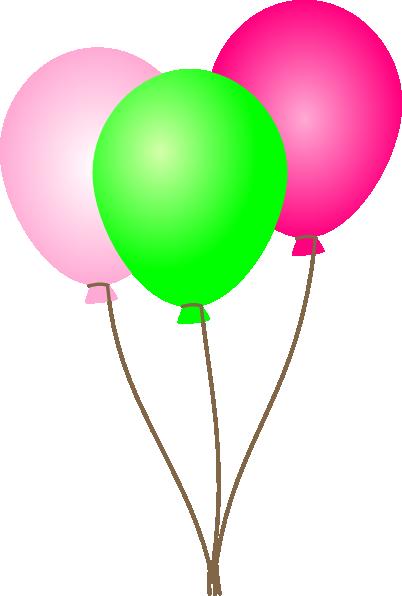 402x596 Pink Green Balloons Clip Art