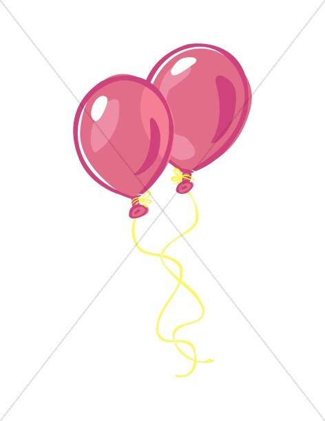 472x612 Colorful Pink Balloons Church Birthday Clipart