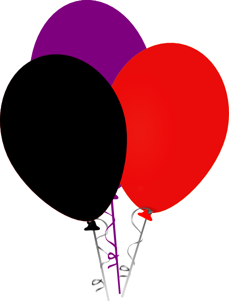 456x598 Purple Black And Red Balloons Clip Art