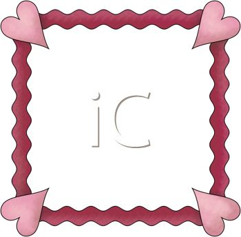 350x344 A Clip Art Illustration Of A Red Wavy Border With A Pink Heart