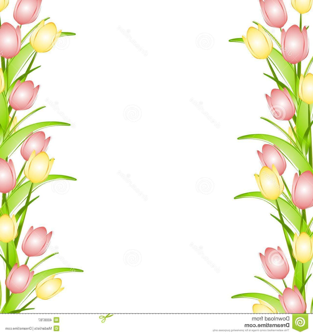 1300x1390 Best 15 Pink Flower Border Clip Art Yellow Spring Tulips Design