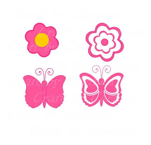 570x550 Butterfly Flower Borders Pretty Pink Scrapbooking Border
