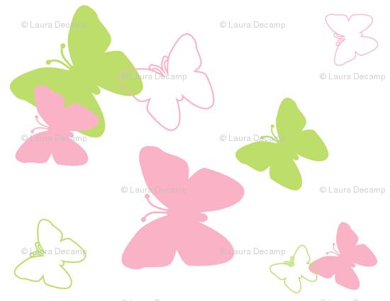 550x425 Pink Green Butterfly Wallpaper