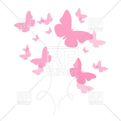 400x400 Silhouettes Of Pink Butterfly Royalty Free Vector Clip Art Image