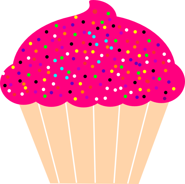 600x596 Cupcake With Pink Frosting And Sprinkles Clip Art