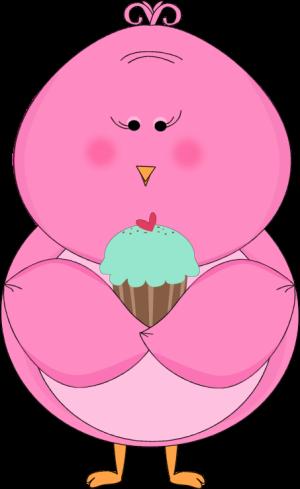 300x489 Pink Bird Eating A Cupcake Clip Art