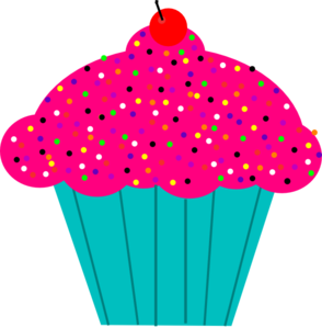 294x299 Pink Frosted Cupcake Clip Art