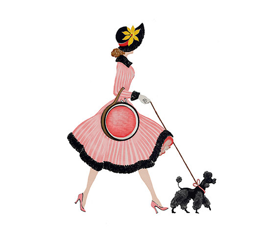 570x494 Lady In Pink Dress With Poodle Digital Clipart Png By 641digital