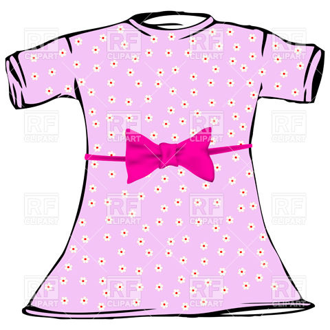 480x480 Pink Dress For Little Girl Royalty Free Vector Clip Art Image