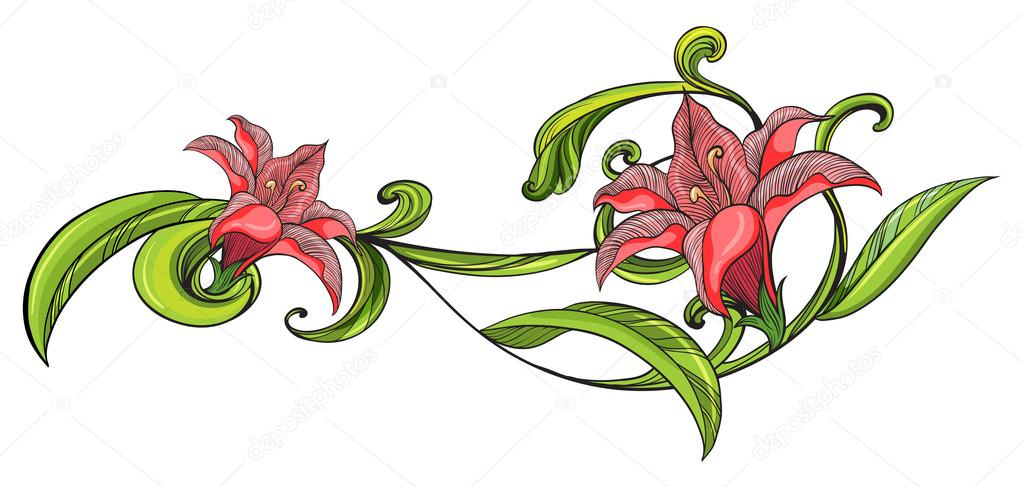 1023x487 Pink Flower Border Stock Vectors, Royalty Free Pink Flower Border