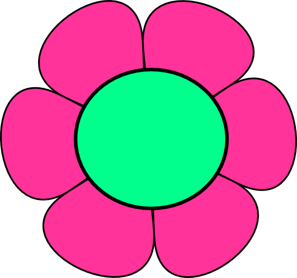 600x561 Pink And Green Flower Clip Art