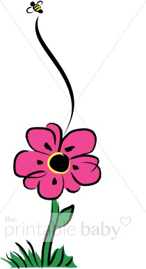 210x388 Pink Flower And Bee Clip Art Flower Baby Clipart