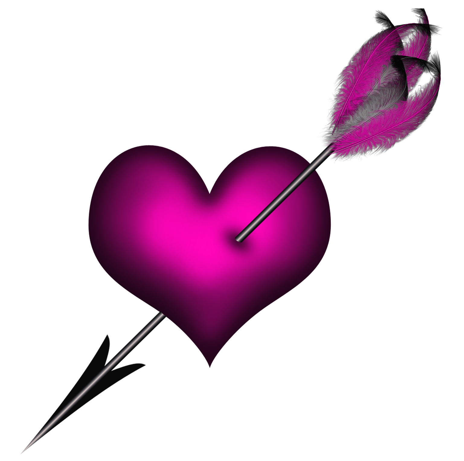 1537x1528 Transparent Pink Heart With Arrow Png Clipart Purple