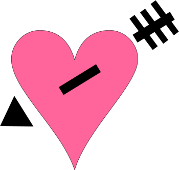 350x332 Pink Heart Black Arrow Clip Art