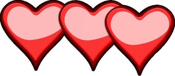 600x263 Three Hearts Clip Art