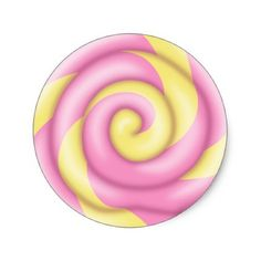 236x236 Pink Blue and Yellow Swirl Lollipop Classic Round Sticker Swirl