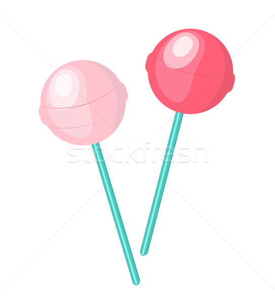 543x600 Cute, Pink Candy Lollipop Icon, Flat Design. Isolated On White