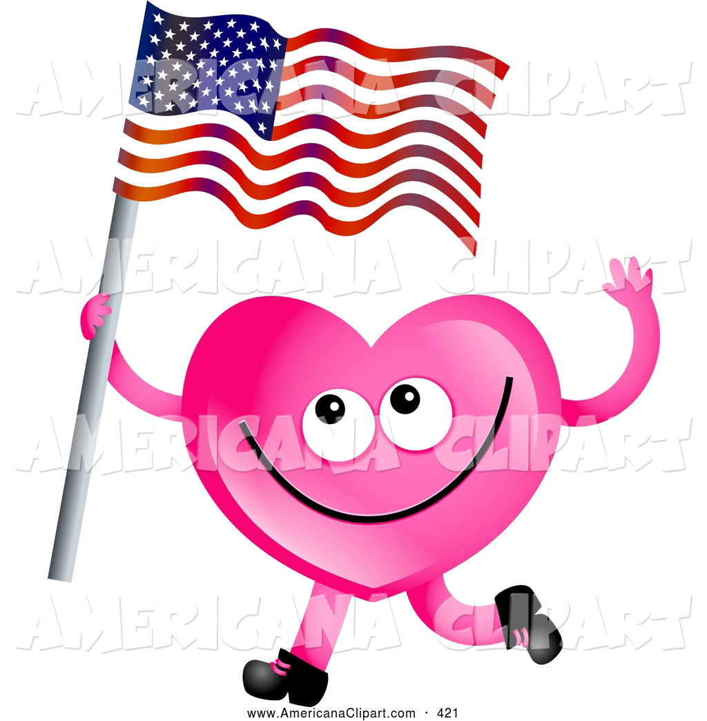 1024x1044 Americana Clip Art Of A Happy Pink Love Heart Waving An American
