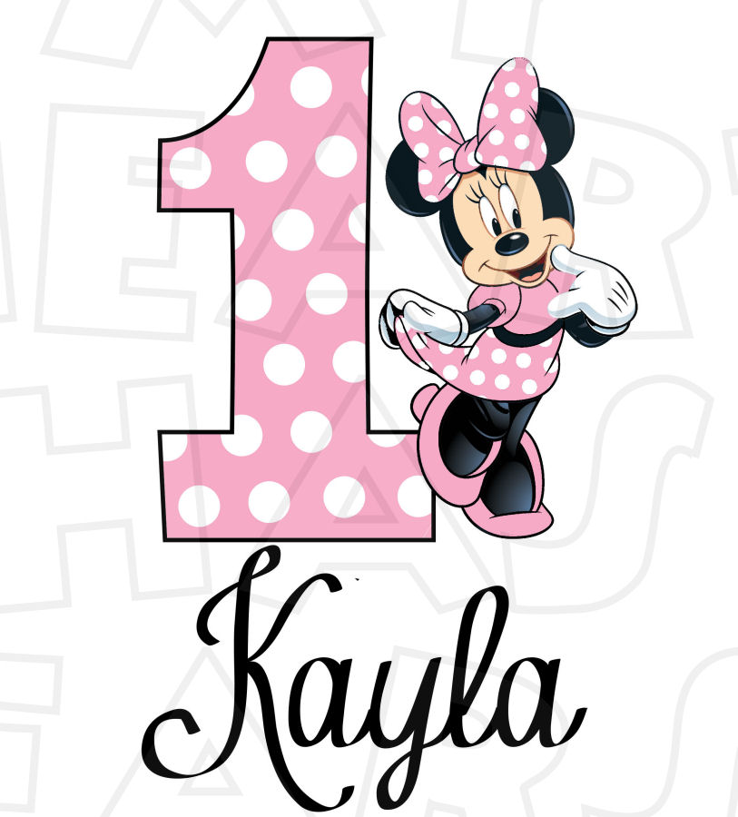 813x900 Minnie Mouse Light Pink Full Body Birthday Personalized Any Name