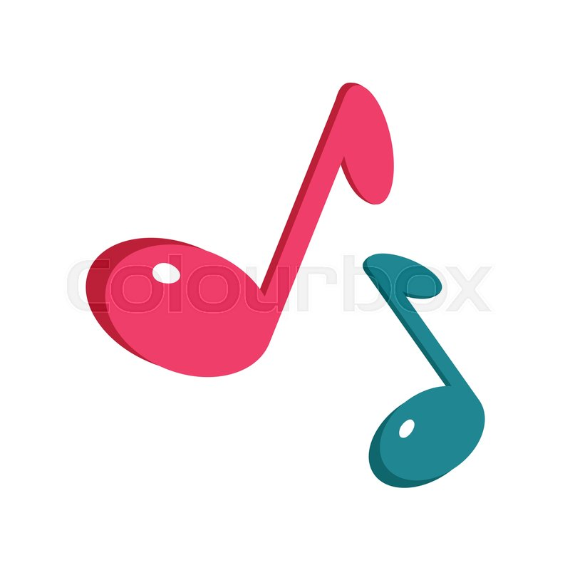 800x800 Music sign blue and pink notes isolated on white. Musical notes
