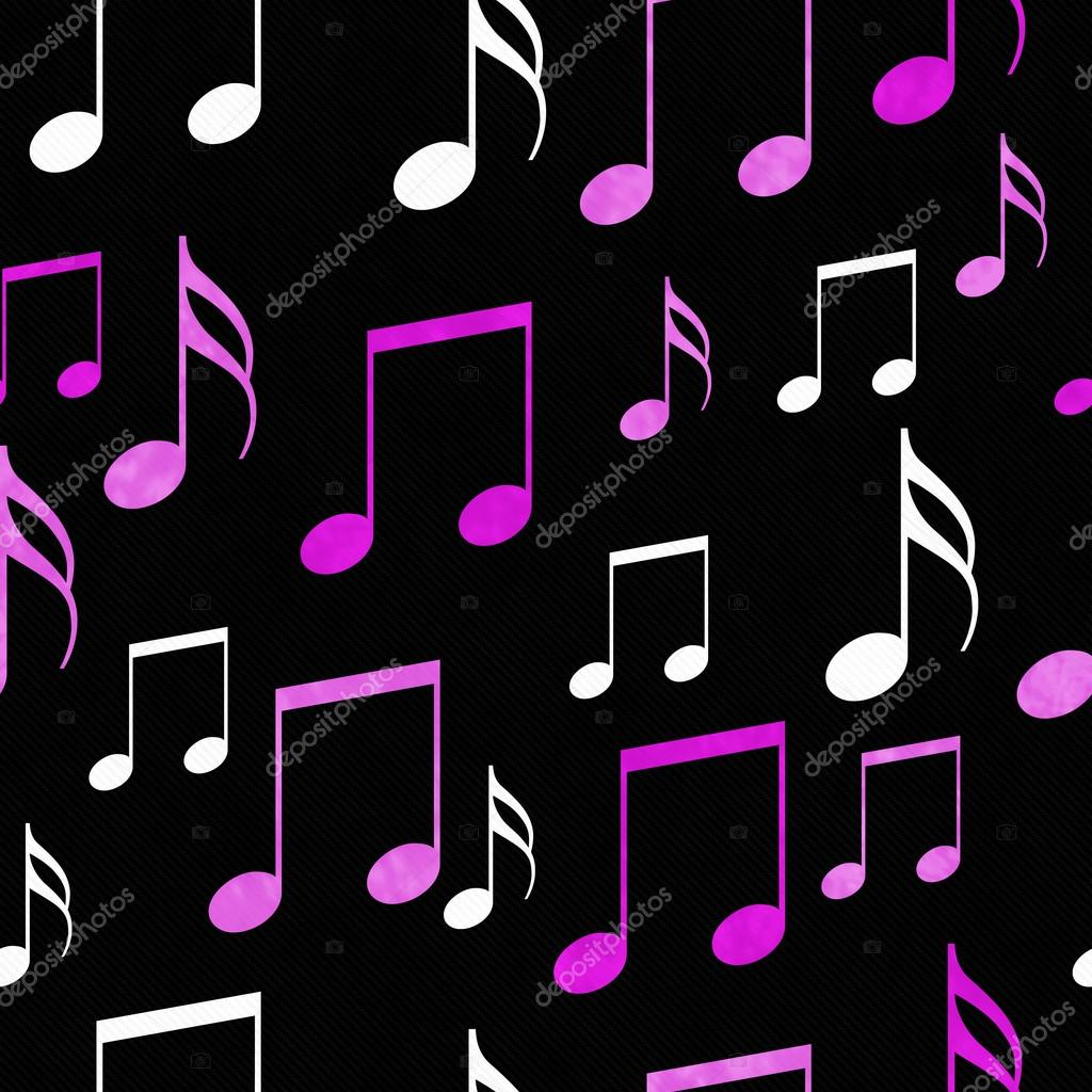 1024x1024 Pink, White and Black Music Notes Tile Pattern Repeat Background