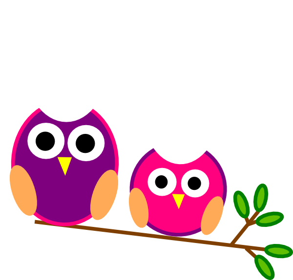 600x575 Cute Pink And Purple Owls Clipart