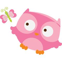 240x240 Cute Pink Baby Owl Clip Art