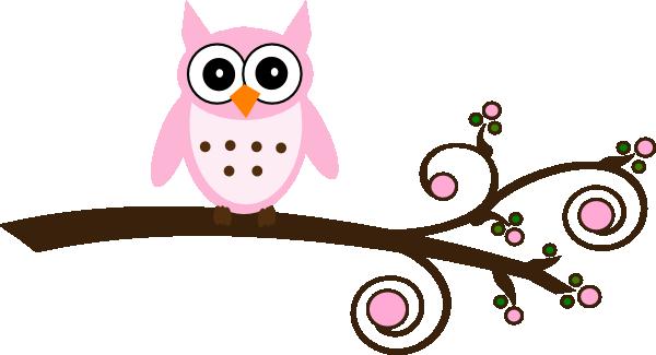 600x325 Pink Owl On Branch Clip Art