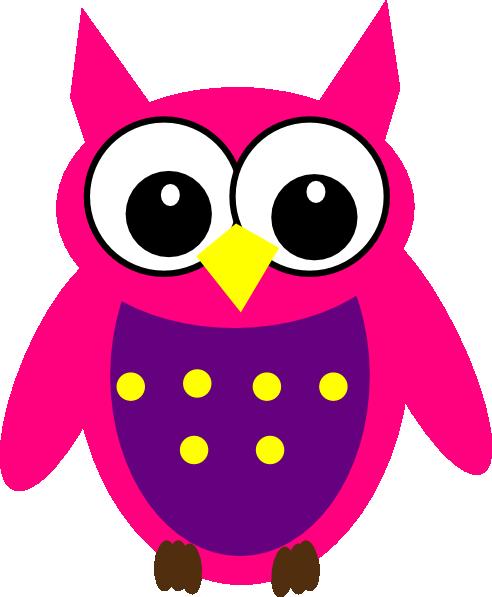 492x597 Pink Purple Yellow Owl Clip Art