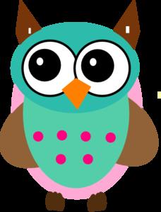 228x299 Aqua Amp Pink Owl Clip Art