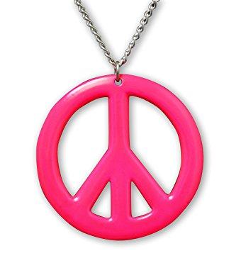 340x395 Hot Pink Hippie Peace Sign Pendant Necklace Enamel