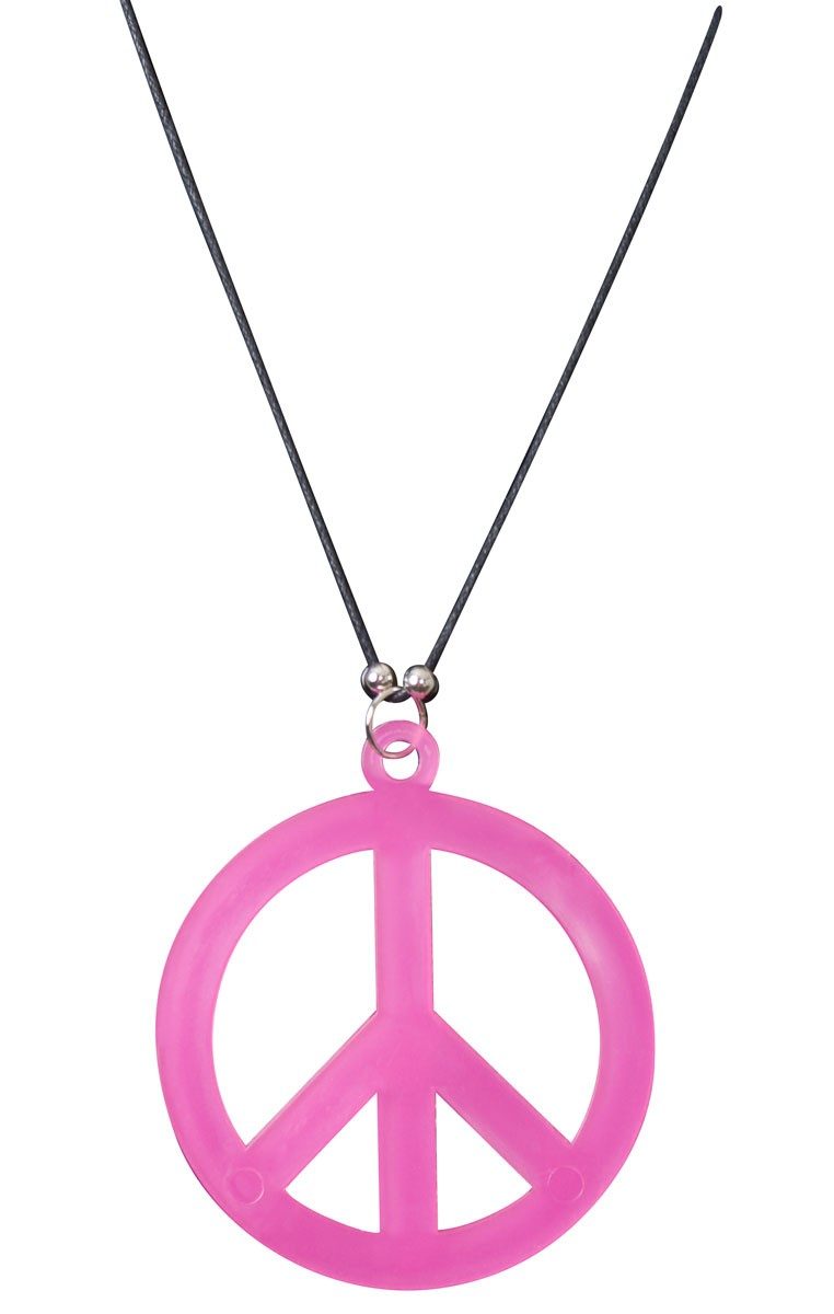 762x1200 Pink Peace Sign Costume Necklace Pink Hippie 60's Necklace