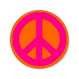 324x324 Custom Pink Peace Sign Stickers Zazzle.ca