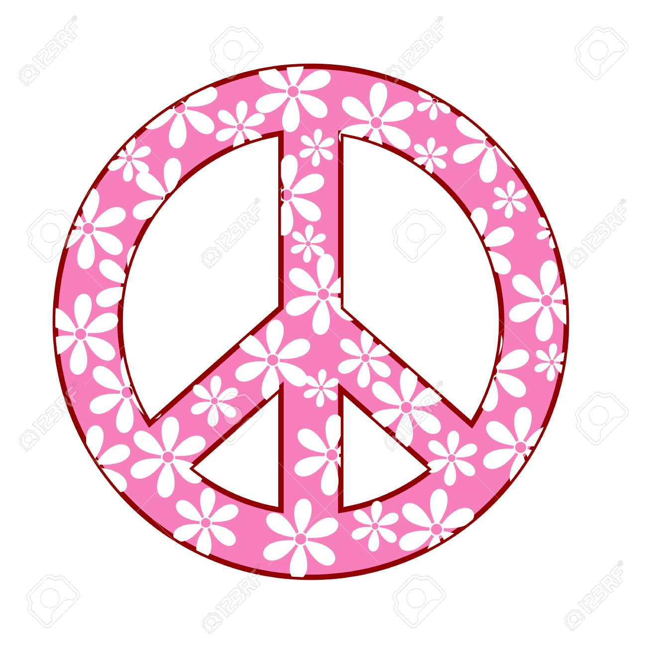 1300x1300 Illustration Of Peace Symbol With Floral Texture Royalty Free